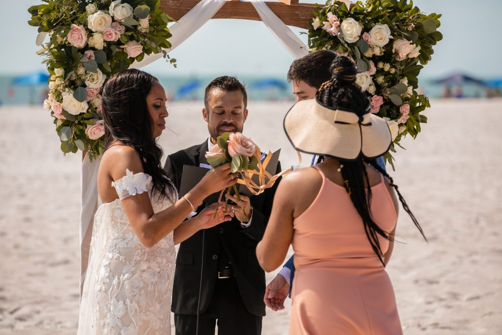 hilton clearwater beach flower florals arch wedding destination photographer pronovias wedding dress wedding st petersburg wedding dress cape  sunset gulf of mexico  First look