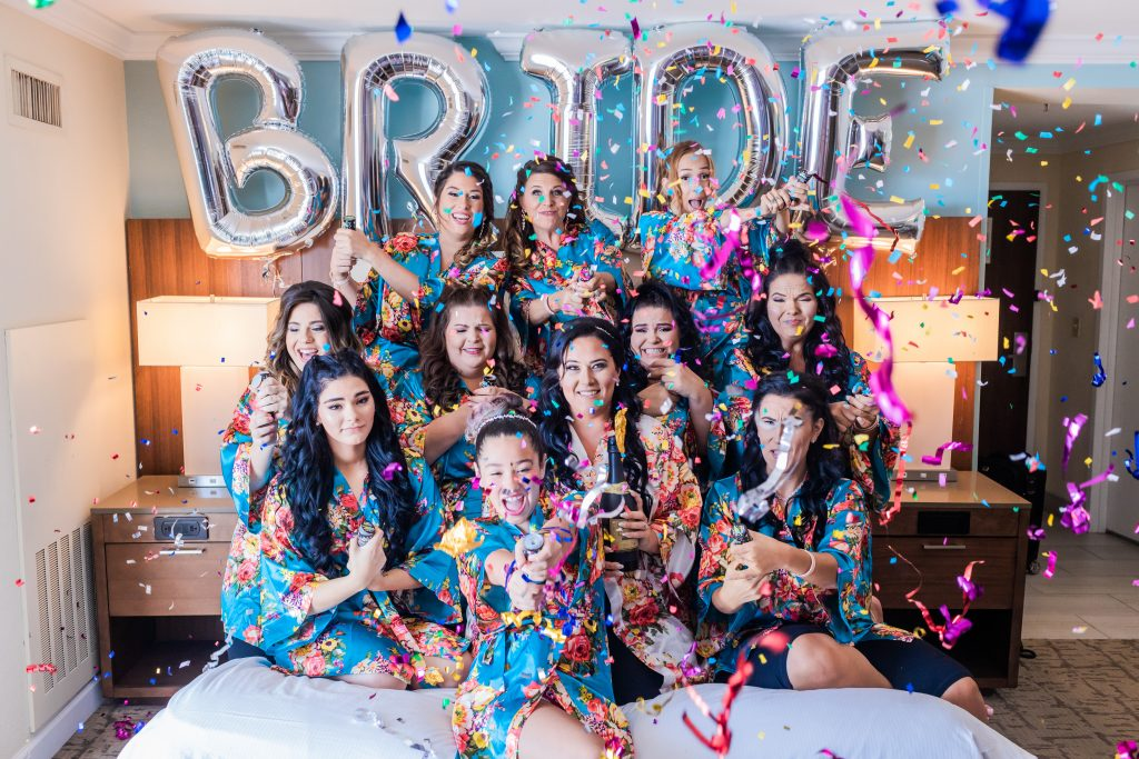 confetti cannon bridal suite bride bridesmaid