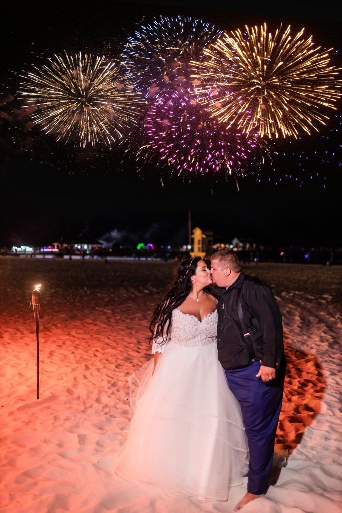 bridal portraits fireworks on the beach