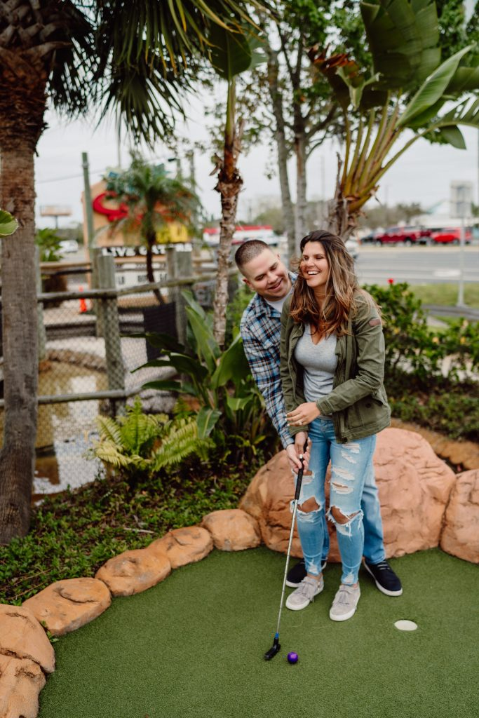 Mini golf engagement session